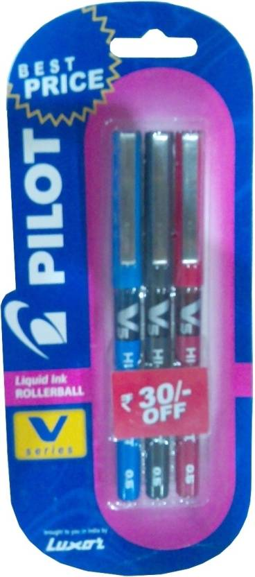 Pilot V5 (Pack of 3) Liquid Ink Rollerball Pen