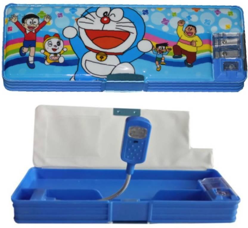 Tara Lifestyle Doraemon With study light Art Plastic Pencil Box (Set of 1, Blue)