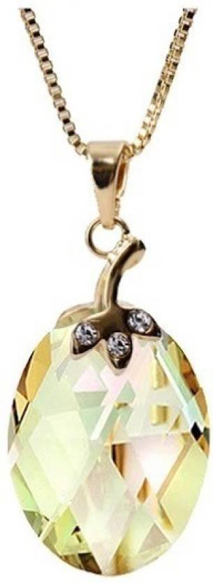 WearYourFashion Yellow Round Design 18K Yellow Gold Swarovski Crystal Alloy Pendant
