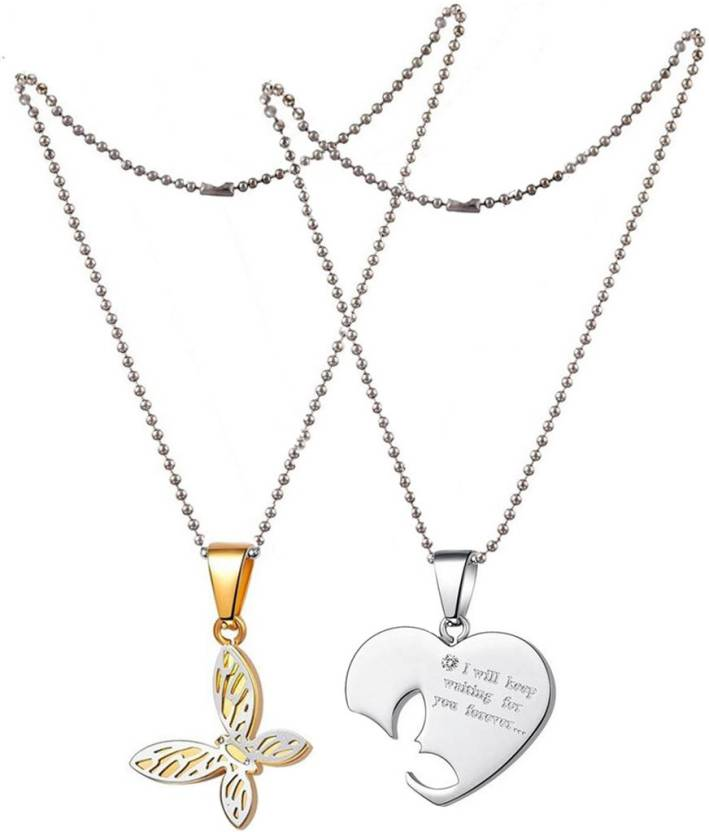 a3b2b1c020 Men Style Boyfriend and Girlfriend Couples Love Butterfly & Heart Titanium  Titanium Pendant Set Price in India - Buy Men Style Boyfriend and Girlfriend  ...