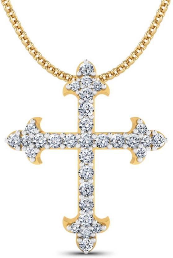 Jewel Berry Jesus Cross Pendant Hallmark 18kt Gold With Certified Si