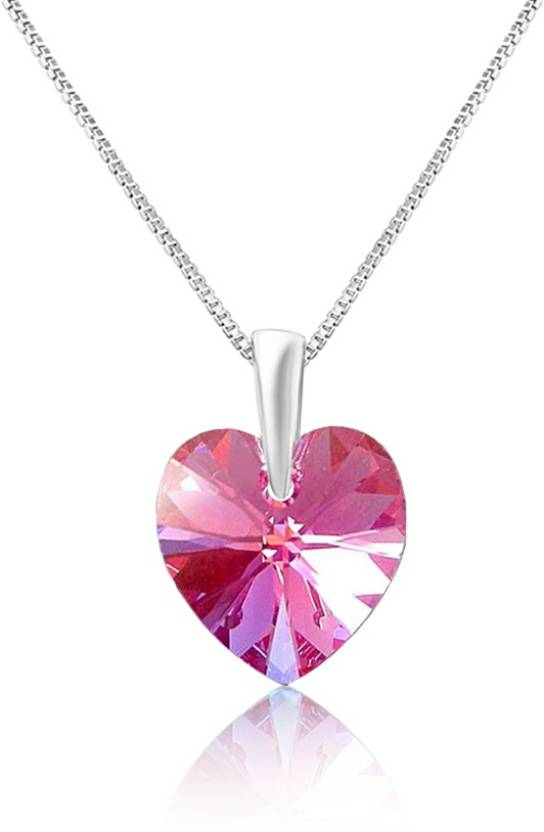 Mahi Pink Love For Valentine Rhodium Swarovski Crystal Brass, Alloy Pendant