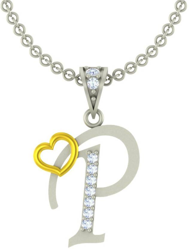 Kanak Jewels Valentine Collection Alphabet Letter P With Heart Chain Silver Cubic Zirconia