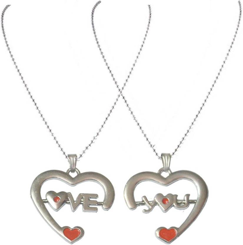 Men Style Couples His And Her Heart Alphabet Letter Love You Necklance Lock Key For Best