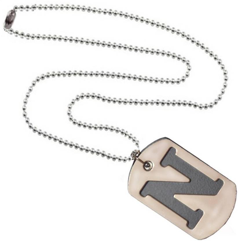 Men Style Alphabet Letter N Plated Stainless Steel Pendant Set