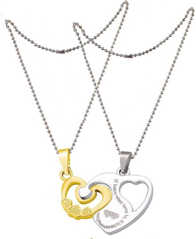3ac2754db3 Men Style Lovers Couples Necklaces Heart Puzzle Pendants Diamond SPn011025 Stainless  Steel Pendant Set Price in India - Buy Men Style Lovers Couples ...