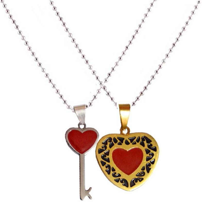 d1c058ed77 Men Style Couple his and her Heart Key Shape Necklaces For Valentine's Day  Gift Stainless Steel Pendant Set Price in India - Buy Men Style Couple his  and ...