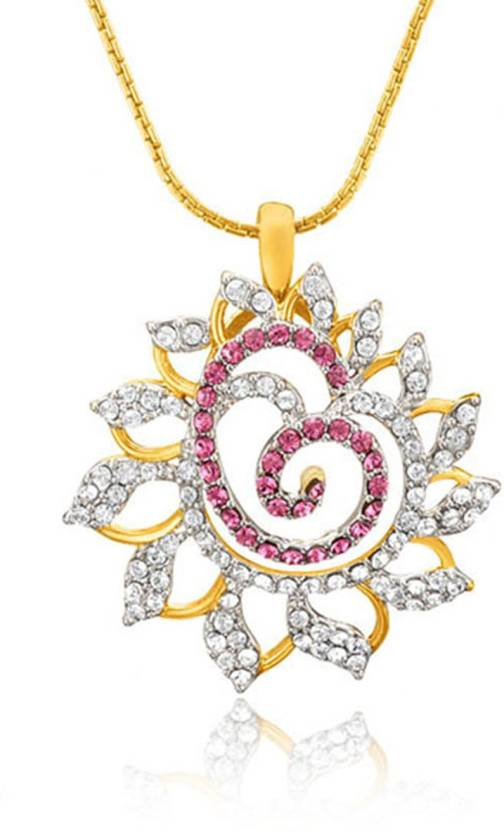 Mahi Pink Dahlia Flower Yellow Gold Swarovski Crystal Brass, Alloy Pendant