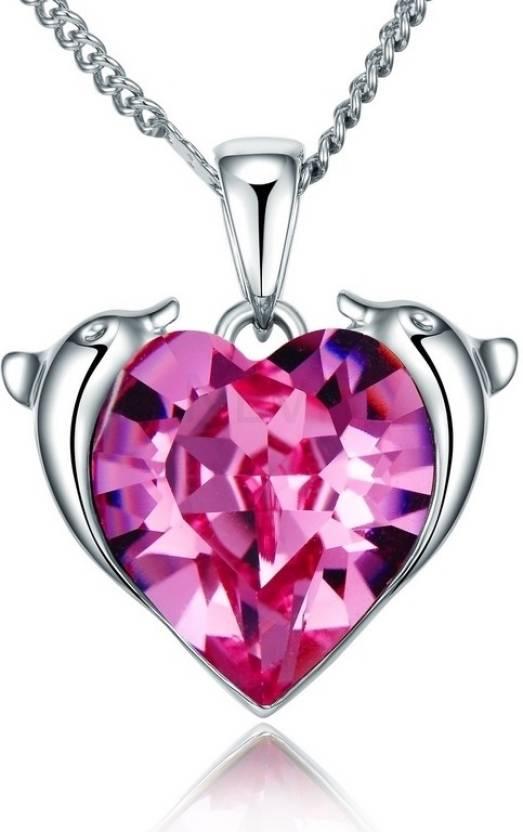 2194803cf8e04 Nevi Pink Heart Rhodium Swarovski Crystal Alloy, Crystal Pendant ...