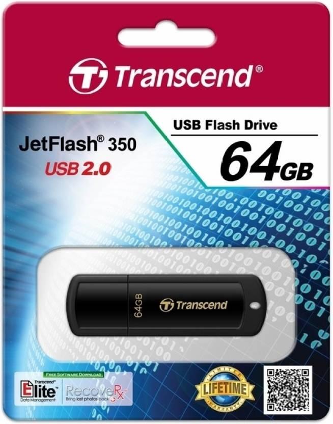 Transcend JetFlash 350 64 GB  Pen Drive (Black)
