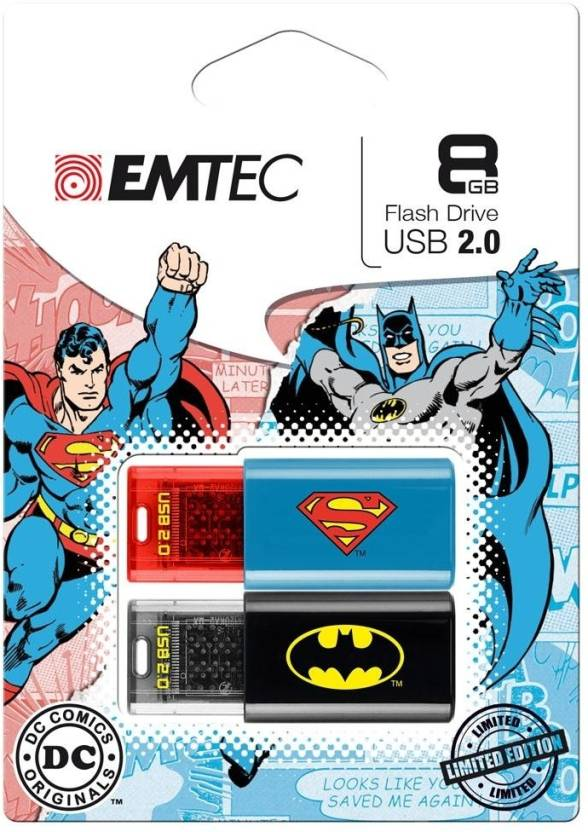 Emtec Batman Superman DUO-combo Pack 8 GB Pen Drive