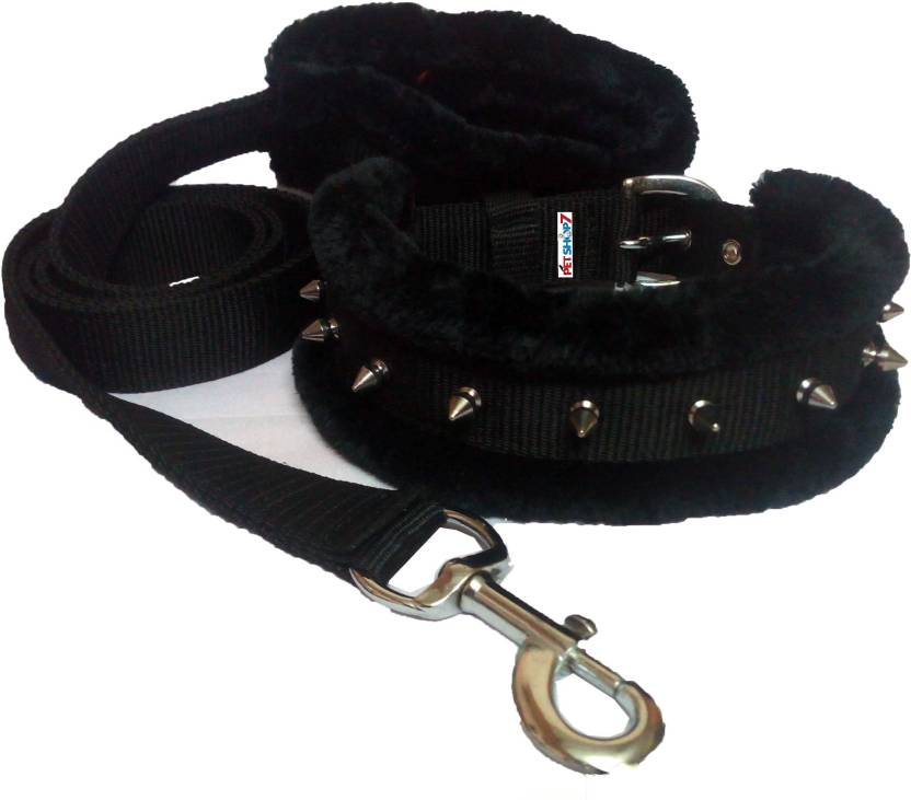 Petshop7 Black Spike 1 Inch Medium Dog Collar & Leash  (Medium, Black)
