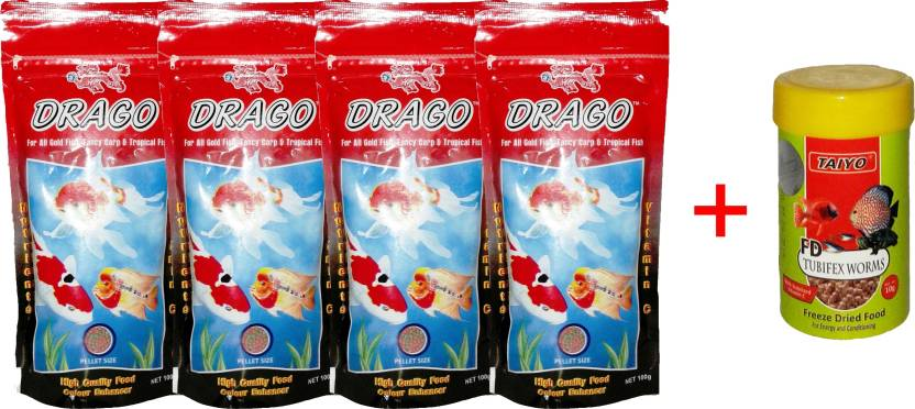 Taiyo Drago 4x100gm Pouch + 10gm Tubifex Worms Fish 410 g Dry Fish Food