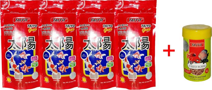Taiyo Grow 4x 100gm Pouch + 10gm Tubifex Worms Fish 410 g Dry Fish Food