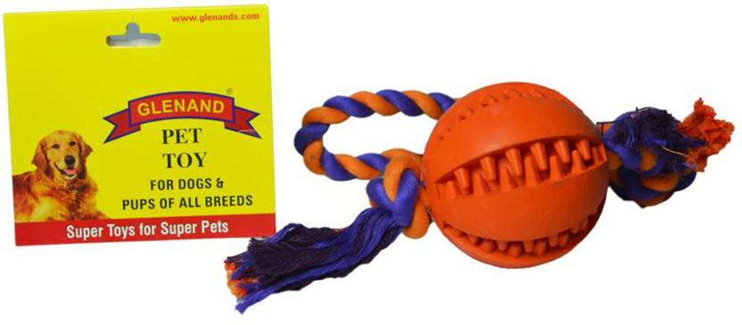 Glenand Rubber Dental Chew With Rope Tug Cotton Ball For Dog