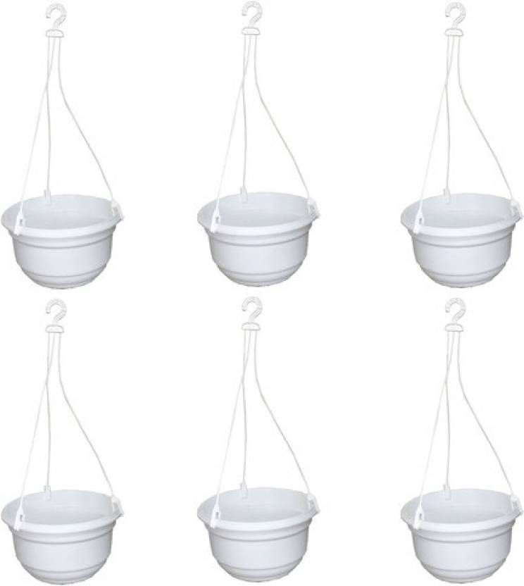 Krupex 6 White Hanging Pots Combo Plant Container Set Pack Of Plastic