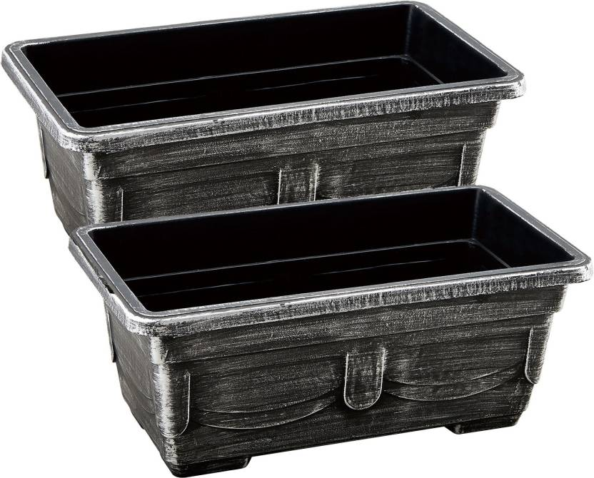 Citigardener Set Of 2 Extra Large Silver Rectangular Chest Garden Pots L57 5 X W22 H14 Plant Container Plastic External Height Planter 1 14 Cm