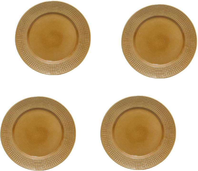 Stonish Dinner plates 10 inches in golden brown colour