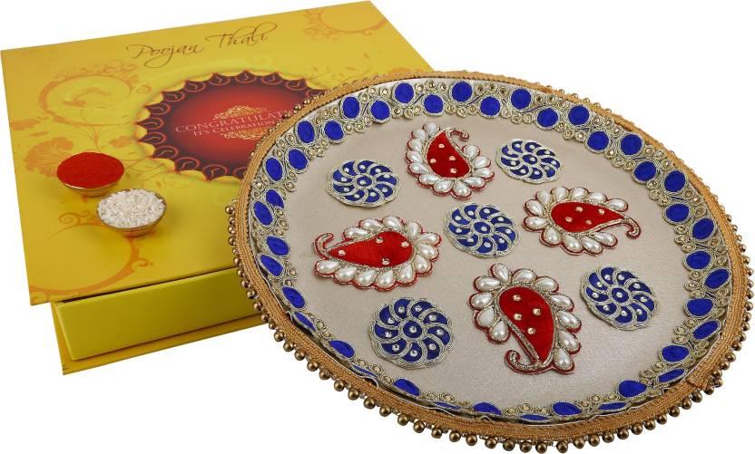 Ridhi Sidhi Ridhi Sidhi Designer Poojan Thali Stainless Steel Pooja & Thali Set  (3 Pieces, Multicolor)- 46% OFF