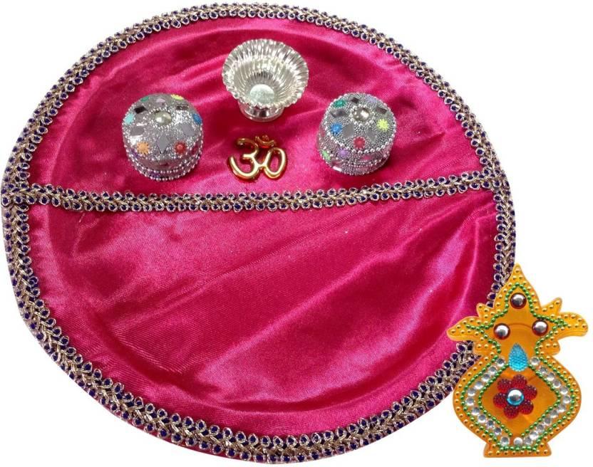 Unique Arts PinkPlastic Plastic Pooja & Thali Set  (2 Pieces, Pink)- 70% OFF