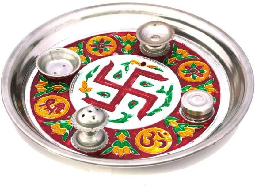 Little India Meenakari Shubh Laabh Designer Swastik 415 Steel Pooja & Thali Set  (1 Pieces, Silver)- 55% OFF