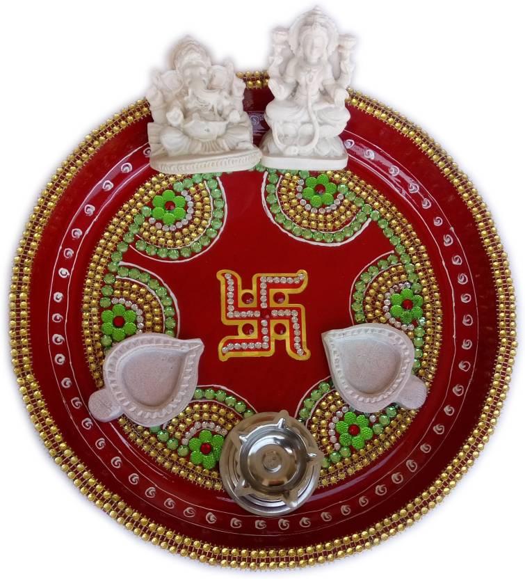 CraftEra Brass, Marble Pooja & Thali Set