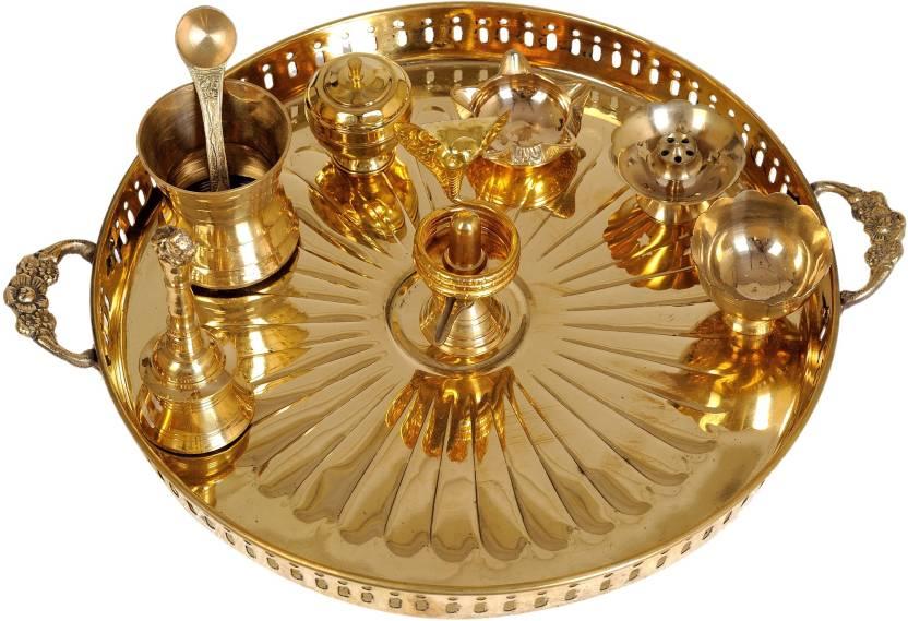 Exotic India for Worship of Shiva Linga Brass Pooja & Thali Set