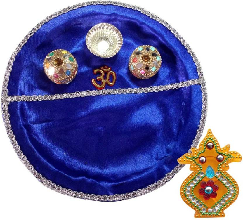 Unique Arts BluePlastic Plastic Pooja & Thali Set  (2 Pieces, Blue)- 70% OFF