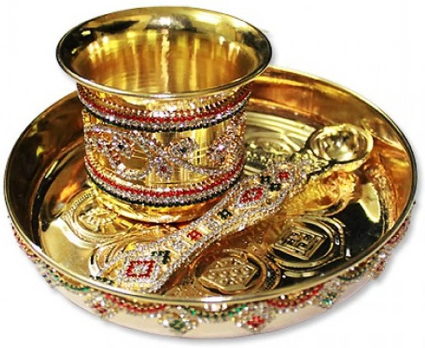 Vedic Vaani Plate With Panchapatra And Pali Brass Pooja Amp Thali Set Price In India Buy Vedic