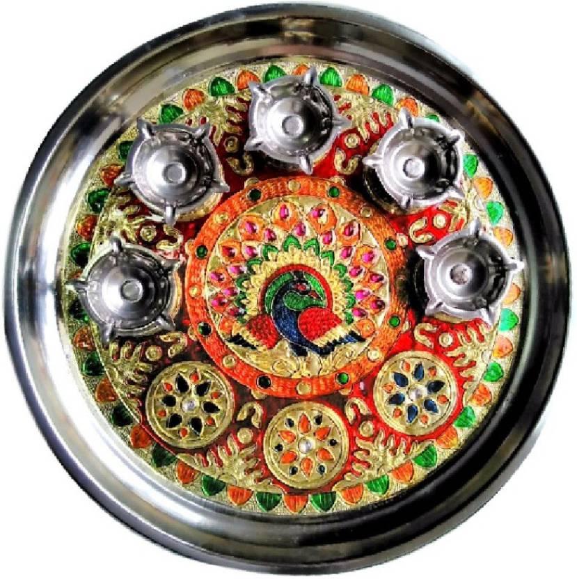 Divine Temples Colorful & Attractive (28 cms) Rakhi Steel Pooja & Thali Set  (6 Pieces, Multicolor)- 42% OFF