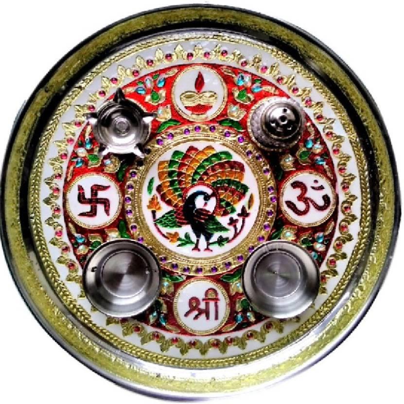 Divine Temples Colorful & Attractive Rakhi (28 cm) Steel Pooja & Thali Set  (5 Pieces, Multicolor)-42% OFF