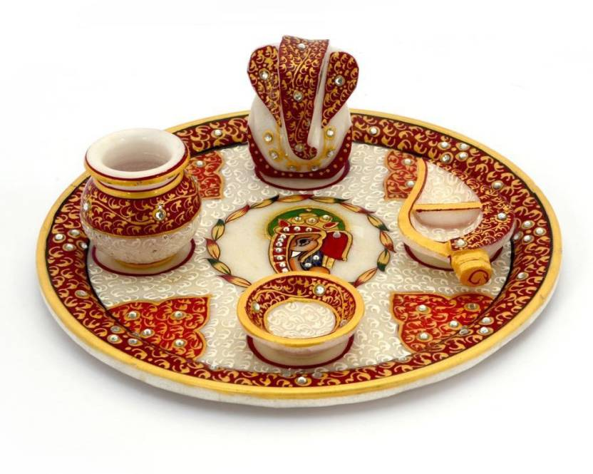 Little India Gold Painted Lord Ganesha 389 Marble Pooja & Thali Set  (1 Pieces, Multicolor)- 55% OFF