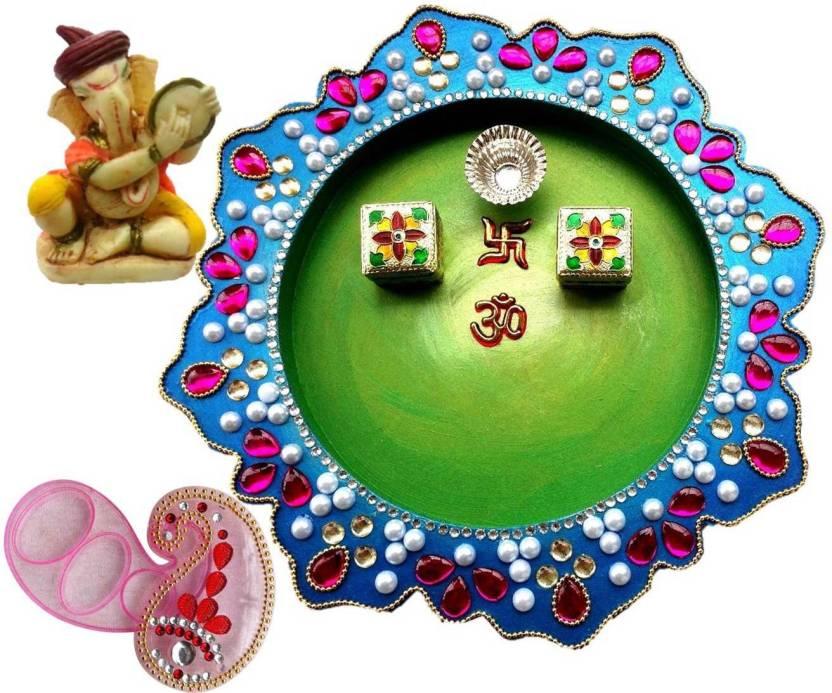 Unique Arts Wooden Pooja & Thali Set  (Multicolor)- 40% OFF