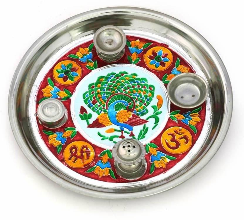 Little India Handcrafted Minakari Shubh Laabh Mayur 296 Steel Pooja & Thali Set  (1 Pieces, Silver)- 55% OFF