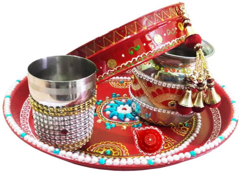 CraftEra Brass Pooja & Thali Set