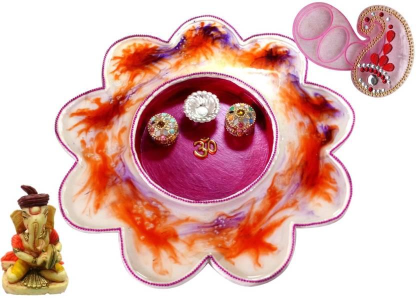 Unique Arts Stainwood Wooden Pooja & Thali Set  (3 Pieces, Multicolor)-40% OFF