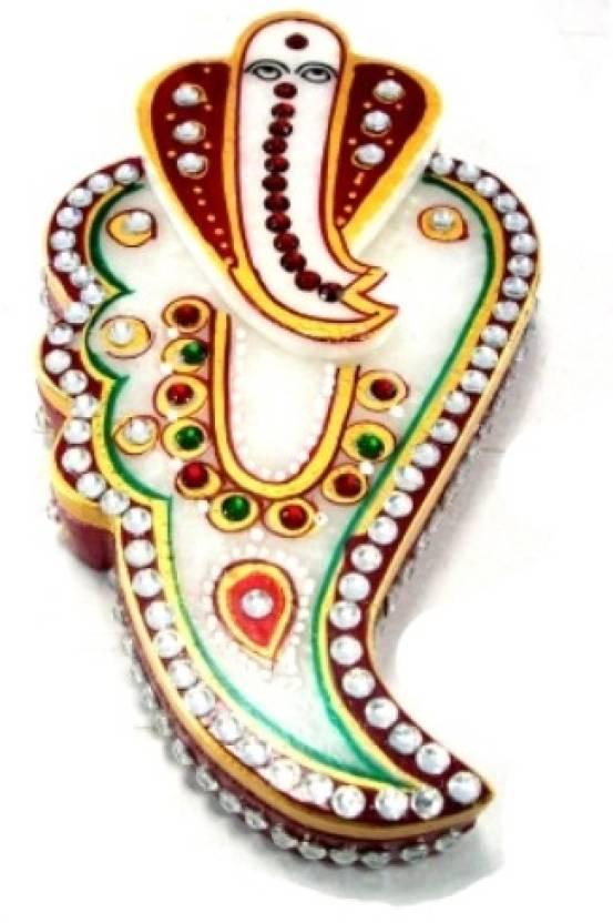 Rajasthan Handicrafts Marble Ganesh Face Design Kumkum Tilak Chopda