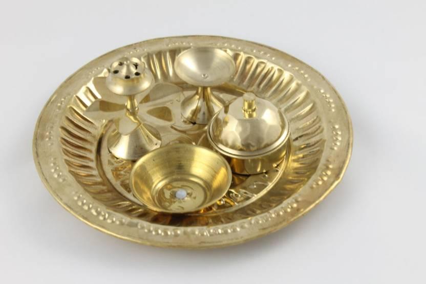 Sarvsiddhi Brass Pooja & Thali Set  (Gold)- 3% OFF