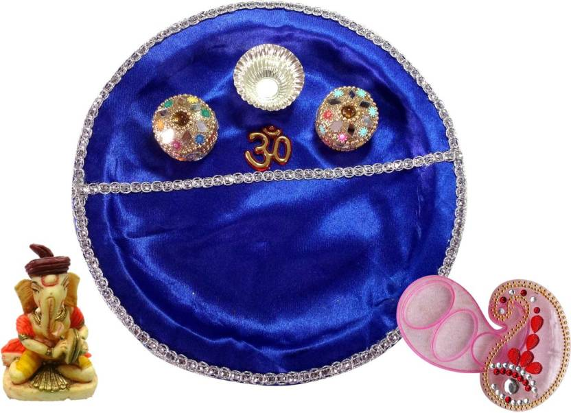 Unique Arts BluePlastic Plastic Pooja & Thali Set  (3 Pieces, Blue)- 65% OFF
