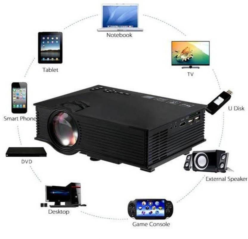 Wonder World ™ UC-46 Upgraded Mini LED WIFI Theater Multimedia Video  Projectors USB AV HDMI 1200 lm LED Corded Mobiles Portable Projector