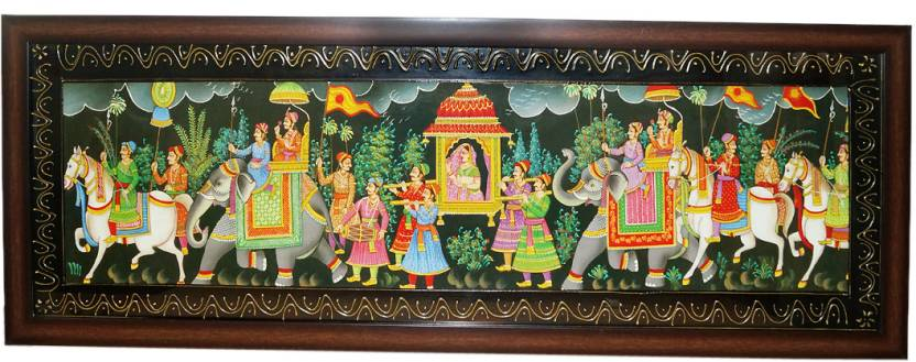 Rural with frame indian rajasthani shai wedding bridal doli painting rural with frame indian rajasthani shai wedding bridal doli painting fine art print junglespirit Images