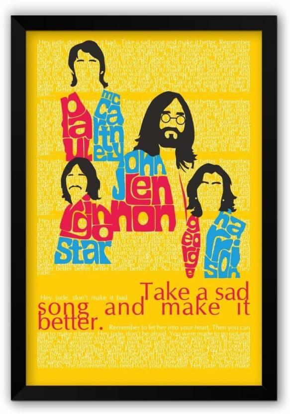 ananyadesigns wall poster beatles take a sad song and make it