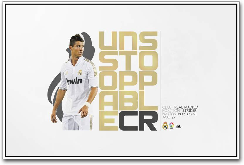 huge discount 1c56a cd1e1 Real Madrid Striker Cristiano Ronaldo Paper Print - Sports ...