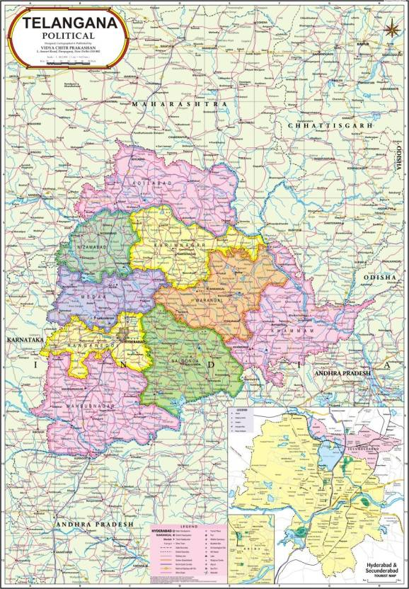 Telangana map political paper print maps posters in india telangana map political paper print gumiabroncs Image collections