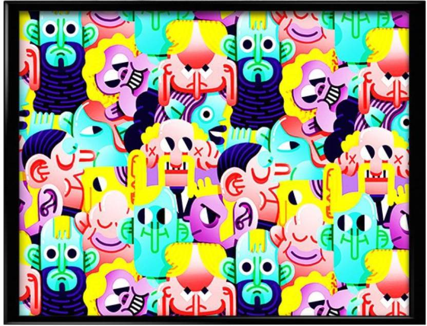 Doodle Graffiti Canvas Art Minimal Art Humor Abstract