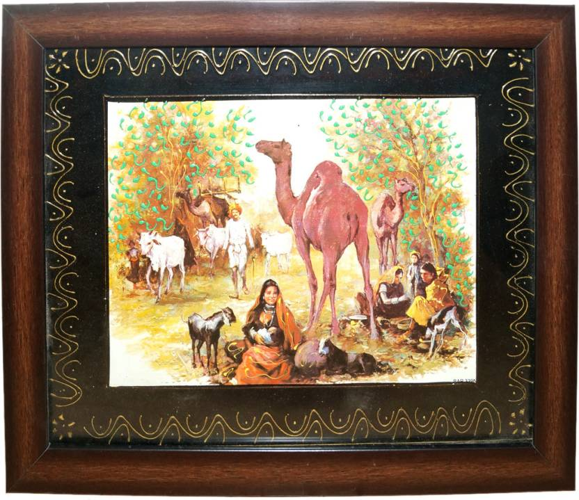 Rajasthani Culture Wall Hanging Painting With Frame Fine