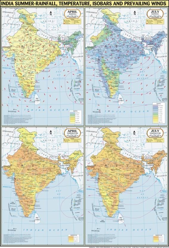 India Map Summer : Temperature, Rainfall, Pressure & Winds Paper ...