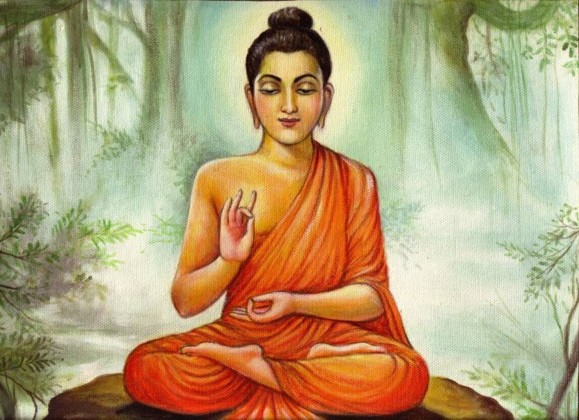 Elite Collection Painting without Frame Buddha (16) (34X22) Canvas ...