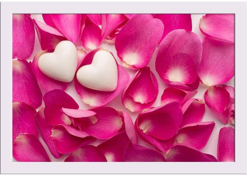 Rose Petals And Hearts Photo Framed Art Print Paper Print