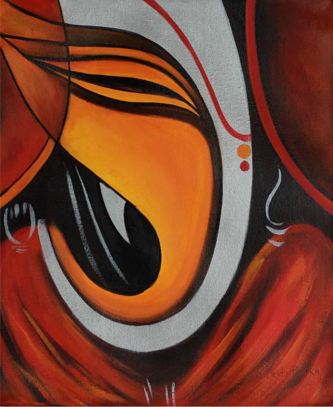 Print Shapes Abstract Ganesh Canvas Painting